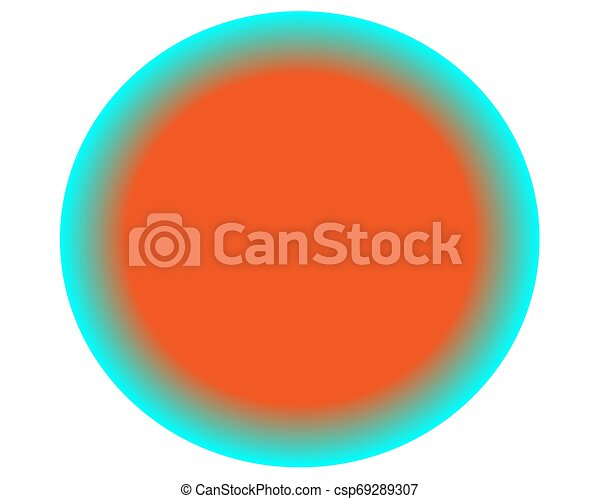 neon orange blue circle ball on white background - csp69289307