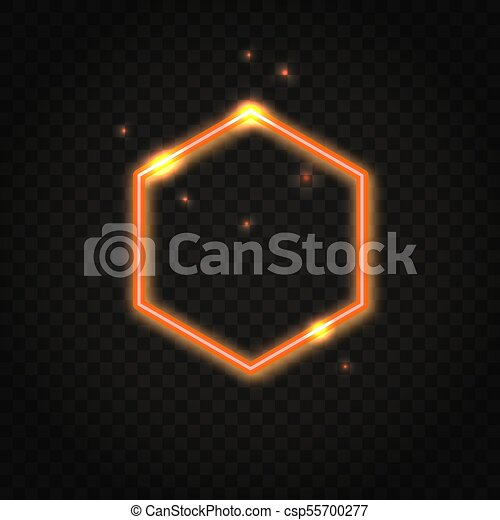 Neon orange hexagon frame with space for text - csp55700277