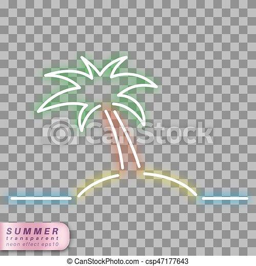 Neon Palm Tree Symbol Palm Tree On The Sea Neon Effect Shape On