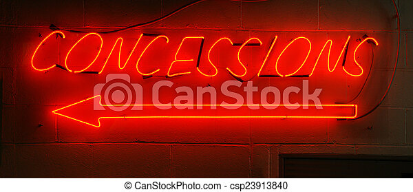 Neon Red Concessions Sign - csp23913840