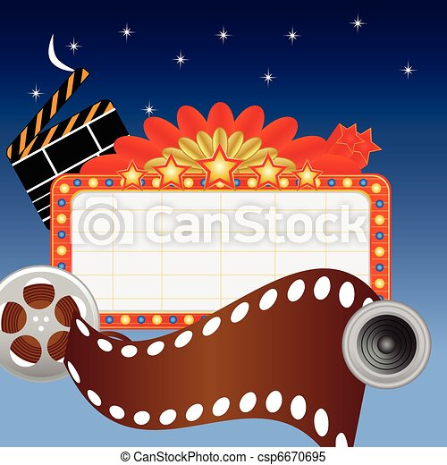 Neon theater sign and media items - csp6670695