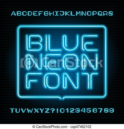 neon tube alphabet font type letters and numbers blue color on a dark background vector typeface for your design