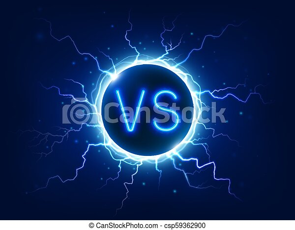 Neon Versus Sign Vs Competition Symbol With Lightning Electrical