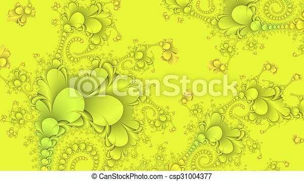 Neon yellow abstract fractal background - csp31004377