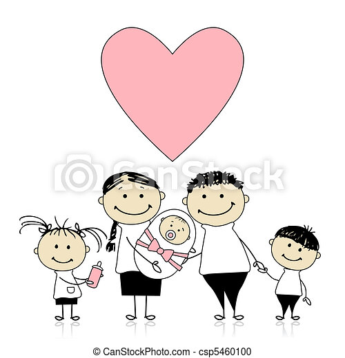 neonato, genitori, mani, bambino, bambini, felice - csp5460100