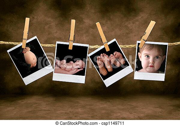 neonato, infante, polaroid, corda, foto, colpi, appendere, gravidanza, clothespins - csp1149711