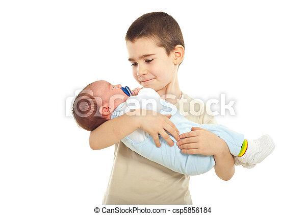 neonato, ragazzo, suo, fratello, presa a terra - csp5856184