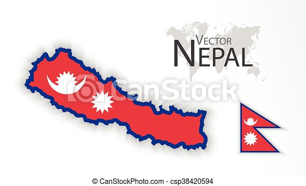 Nepal ( Federal Democratic Republic of Nepal ) ( flag and map ) (  transportation and tourism concept )