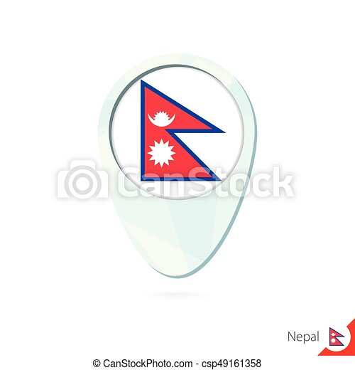 Nepal flag location map pin icon on white background. vector ...