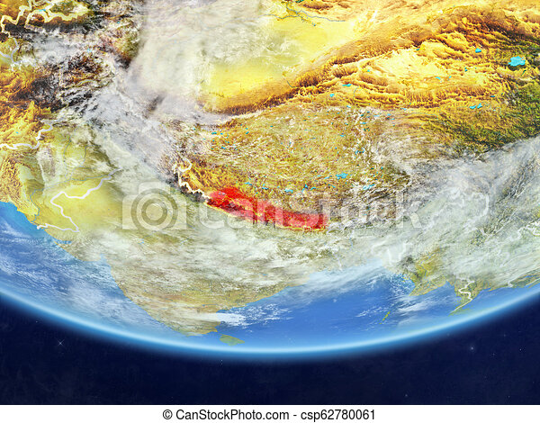 Nepal from space on Earth - csp62780061