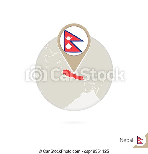 Nepal map and flag in circle. Map of Nepal, Nepal flag pin. Map of Nepal in  the style of the globe.