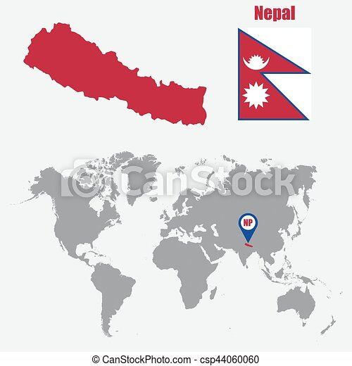 Nepal map on a world map with flag and map pointer. vector illustration.