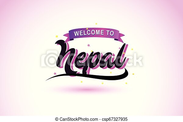 Nepal Welcome to Creative Text Handwritten Font with Purple Pink Colors Design. - csp67327935