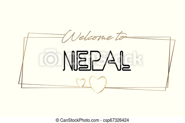 Nepal Welcome to text Neon lettering typography. Word for logotype, badge, icon, postcard, logo, banner Vector Illustration. - csp67326424