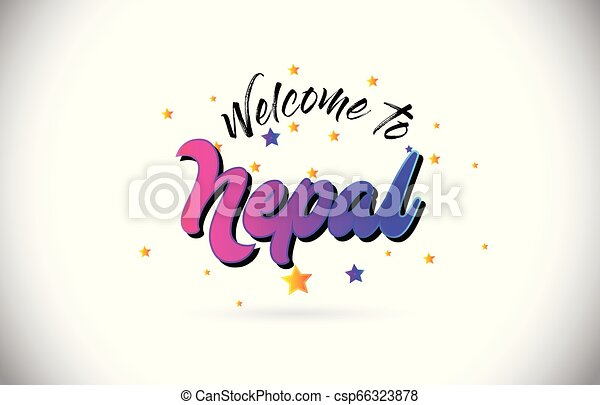 Nepal Welcome To Word Text with Purple Pink Handwritten Font and Yellow Stars Shape Design Vector. - csp66323878