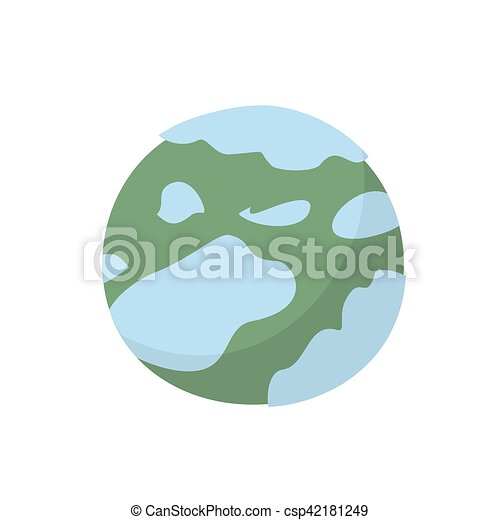 Neptune isolated cartoon style. Planet of solar system on white background - csp42181249
