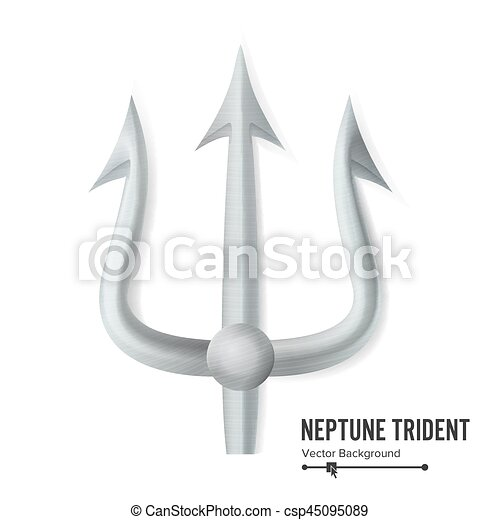 Neptune Trident Vector Silver Realistic 3d Silhouette Of Neptune Or Poseidon Weapon Pitchfork Sharp Fork Object Isolated On White Background