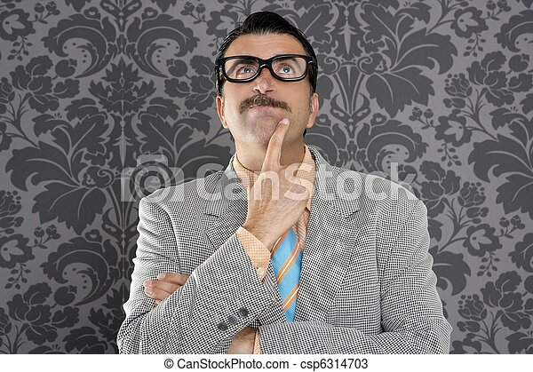 nerd businessman pensive gesture silly funny retro - csp6314703