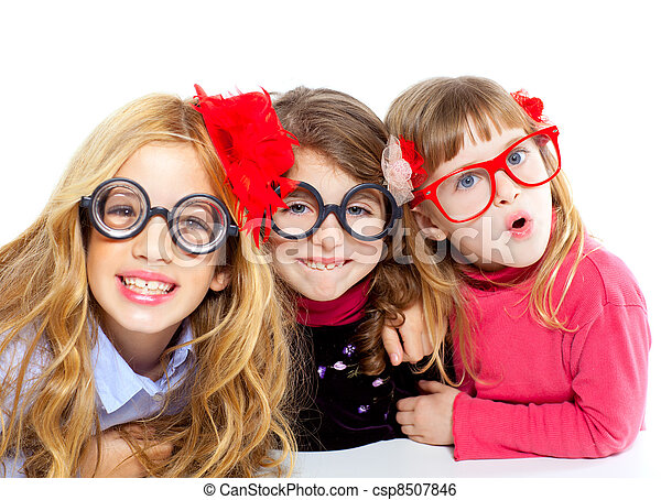 nerd children girl group with funny glasses - csp8507846