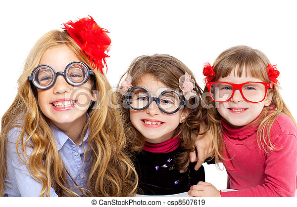 nerd children girl group with funny glasses - csp8507619