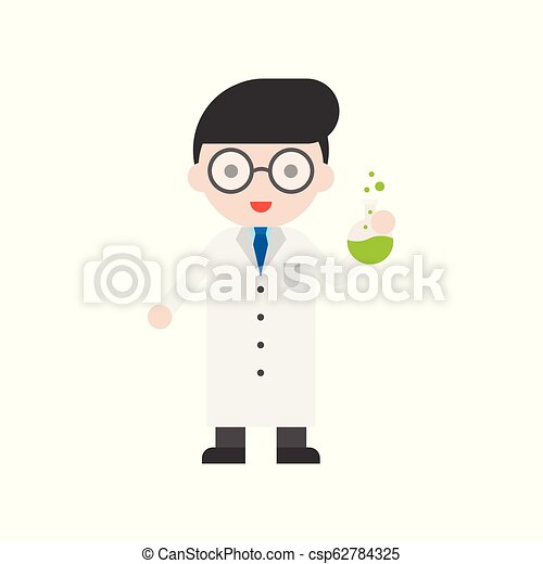 Nerd glasses Scientist and flask, Set Profession character of people in uniform, flat design - csp62784325