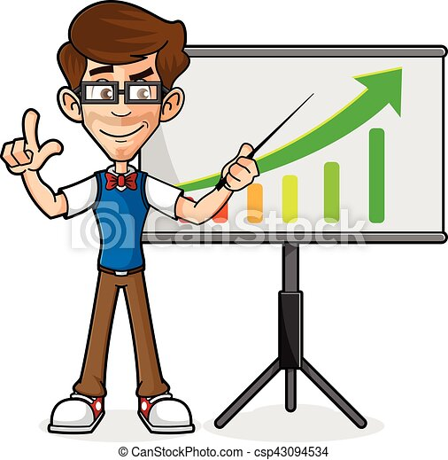 nerd guy doing presentation isolated in white background vectors rh canstockphoto com presentation clipart 3d presentation clipart 3d