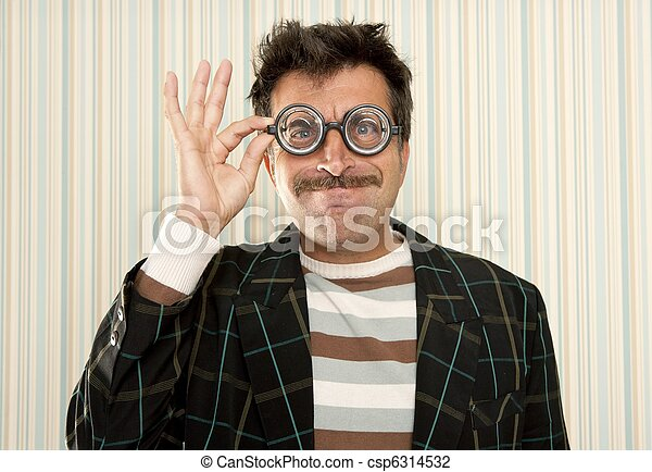 nerd silly crazy myopic glasses man funny gesture - csp6314532