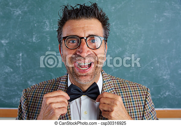 Nerd silly retro man with braces funny expression - csp30316925