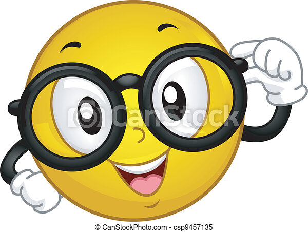 nerdy smiley illustration of a smiley wearing glasses rh canstockphoto com Free Clip Art Smiley Faces Emotions Free Clip Art Smiley Faces Emotions