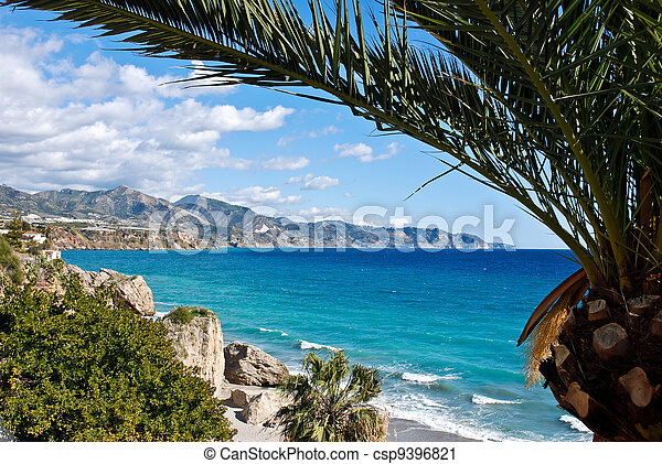 Nerja Beach y City, España - csp9396821