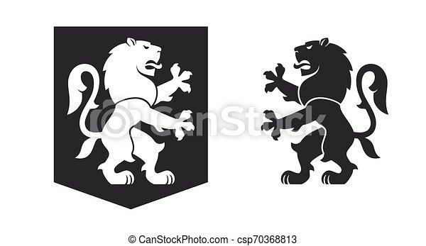 nero, araldico, rampant, leone - csp70368813