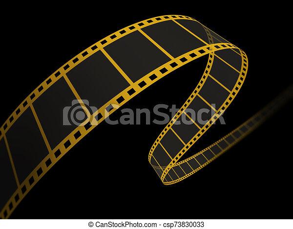 nero, film, 3d, striscia - csp73830033