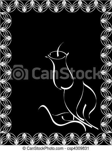 nero, fiore, silhouette - csp4309831