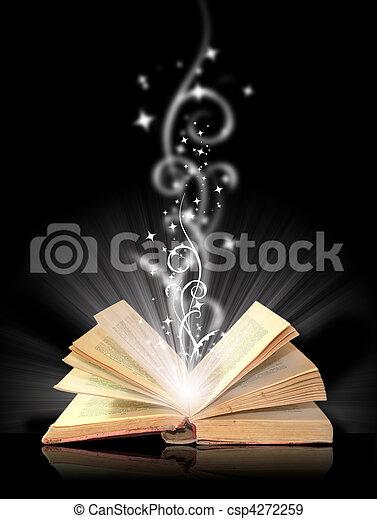 nero, libro, magia, aperto - csp4272259