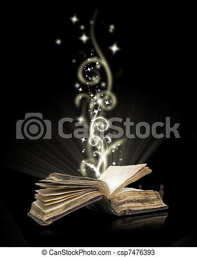 nero, libro, magia, aperto - csp7476393