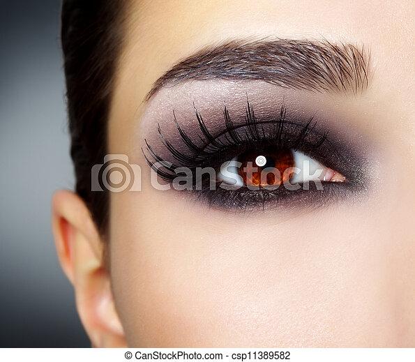 nero, moda, trucco occhio - csp11389582
