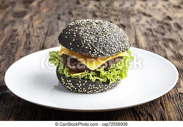nero, piastra, hamburger - csp72556938