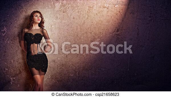 nero, sexy, donna, parete - csp21658623