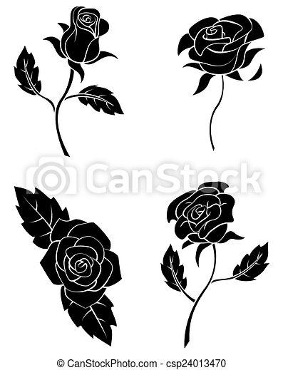 nero, silhouette, collezione, rosa - csp24013470