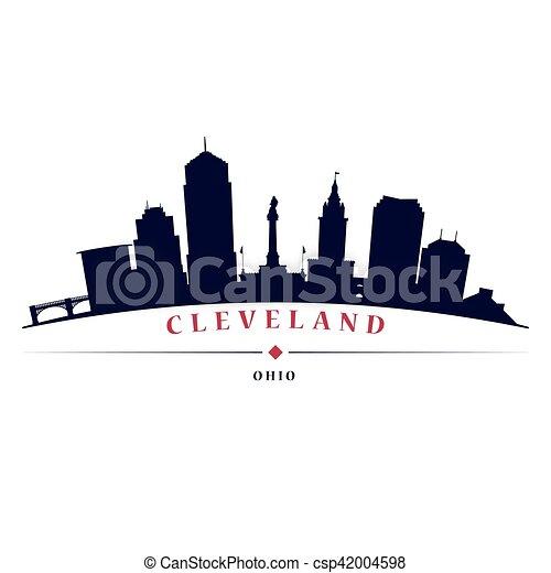 nero, siluetta skyline, cleveland - csp42004598