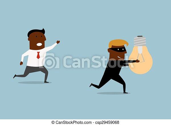nero, uomo affari, inseguire, idea, ladro - csp29459068