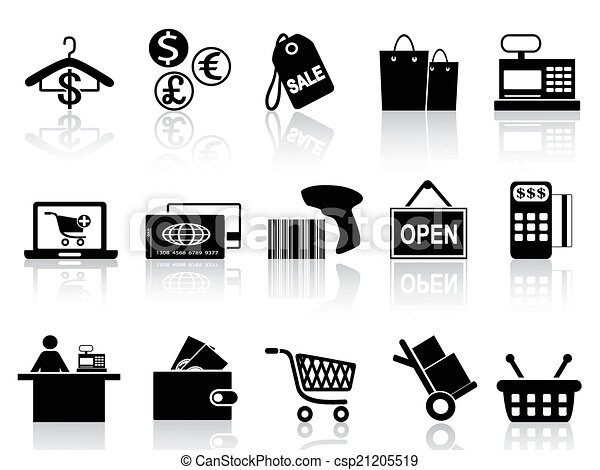 nero, vendita dettaglio, set, shopping, icone - csp21205519