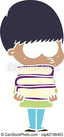 nervous flat color style cartoon boy carrying books - csp62196453