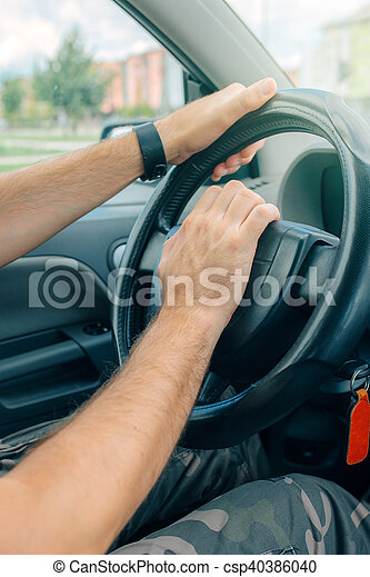 Nervous male driver pushing car horn in traffic rush hour - csp40386040