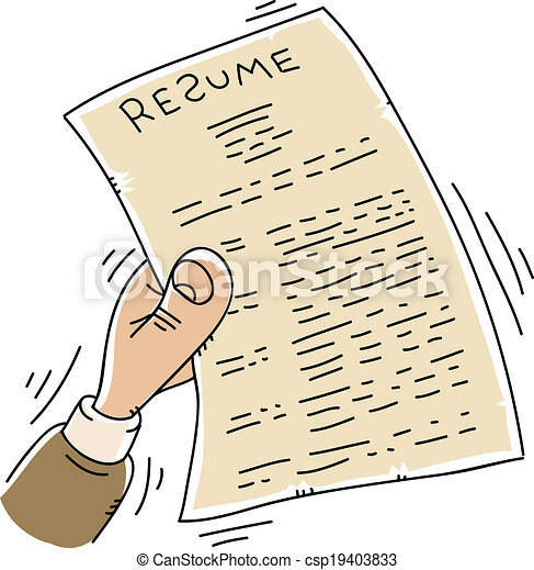 Nervous resume. A cartoon hand shakes and quivers while... vectors ...