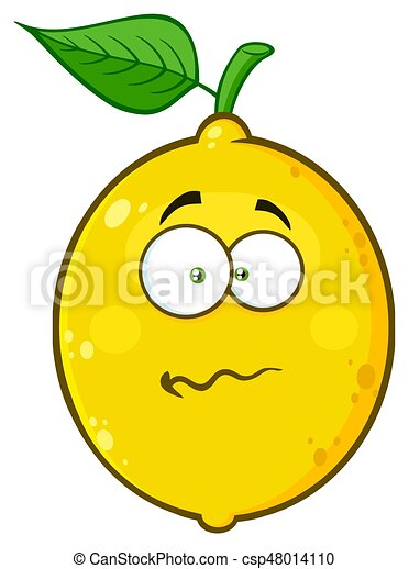 Nervous Yellow Lemon Fruit Cartoon Emoji Face Character With Confused  Expression