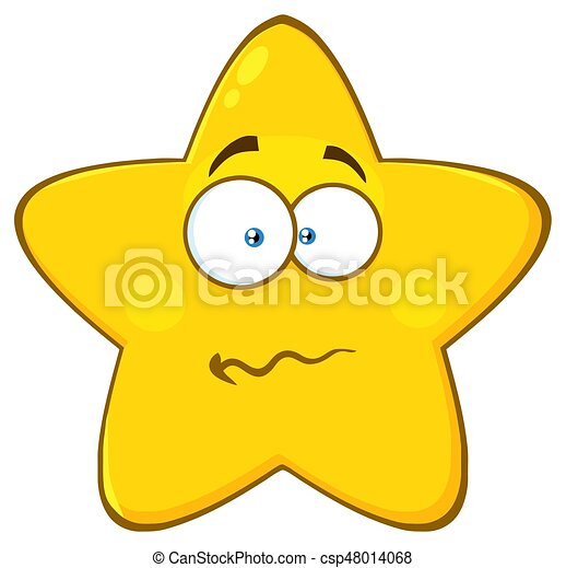 Clip art vector of nervous yellow star cartoon emoji face nervous yellow star cartoon emoji face character with confused expression csp48014068 ccuart Choice Image