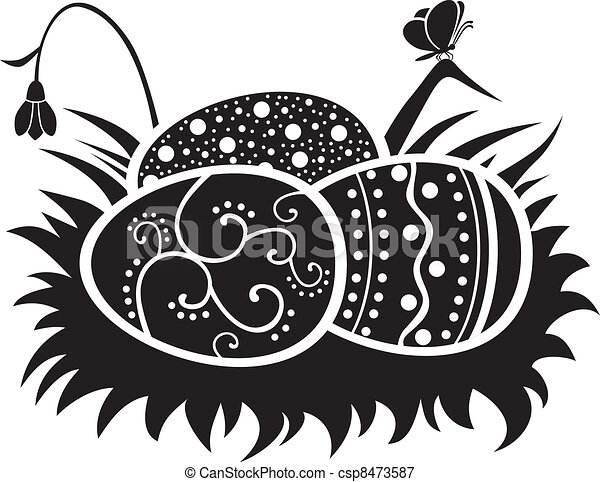 Line Drawing Nest : Nest with eggs the easter painted of vectors