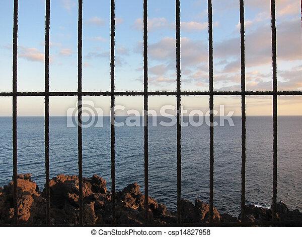 Net over the atlantic ocean at sunset - csp14827958