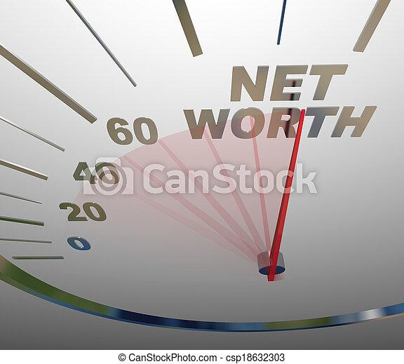 Net Worth Speedometer Rising Increasing Total Wealth Money - csp18632303